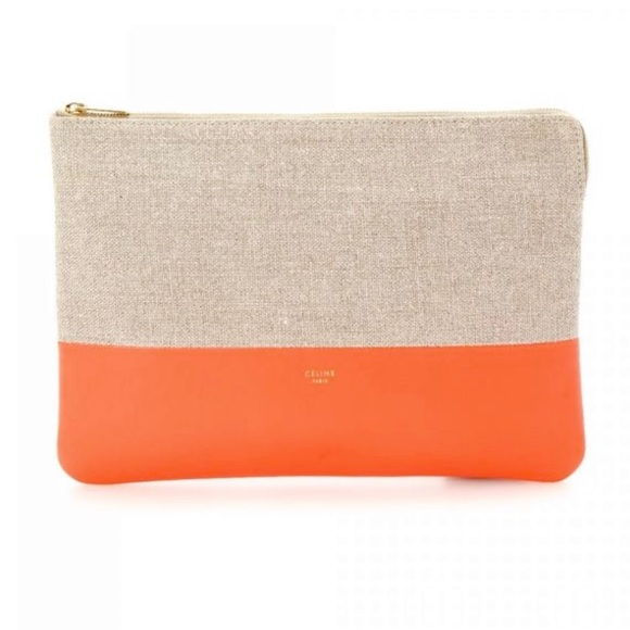 Celine Handbags - Céline Two Toned Cancas Solo Pouch Clutch